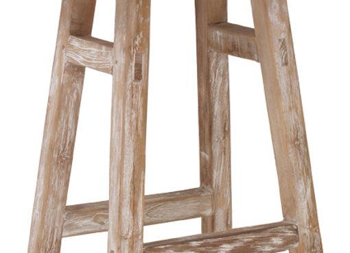 Tabouret table d'appoint en bois patiné