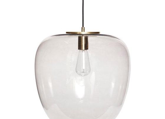 Lampe verre fumé et laiton