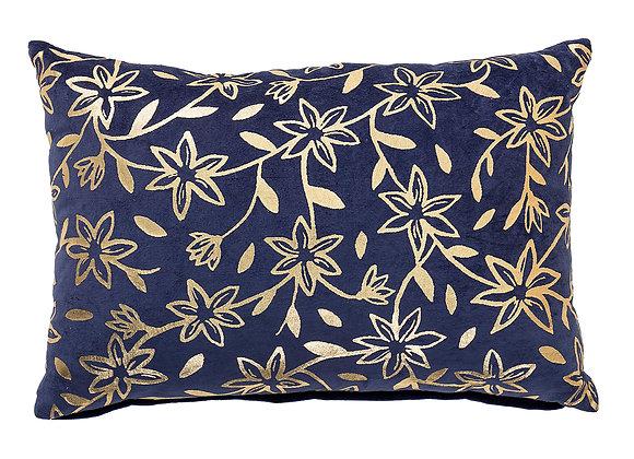 Coussin bleu fleurs dorées