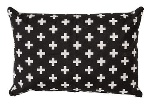Coussin noir croix blanches
