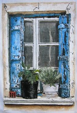 'Greek Village House Window'