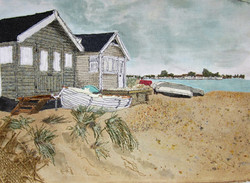 'Beach Huts' Mudeford Spit, Dorset.