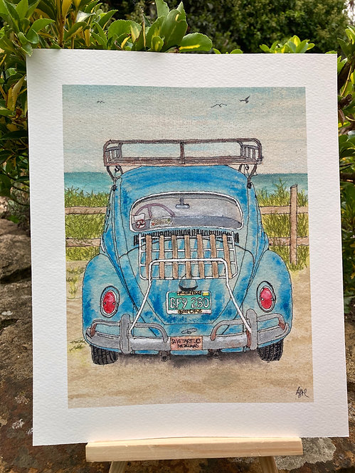 'Beetle At The Beach' Giclée Print