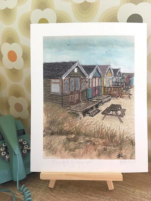 'Beach Huts, Mudeford Spit' Giclée Print