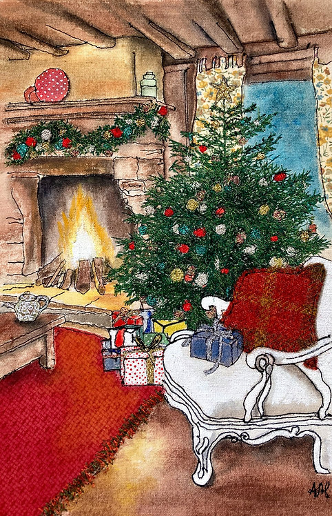 'Christmas by the Fire' - SOLD