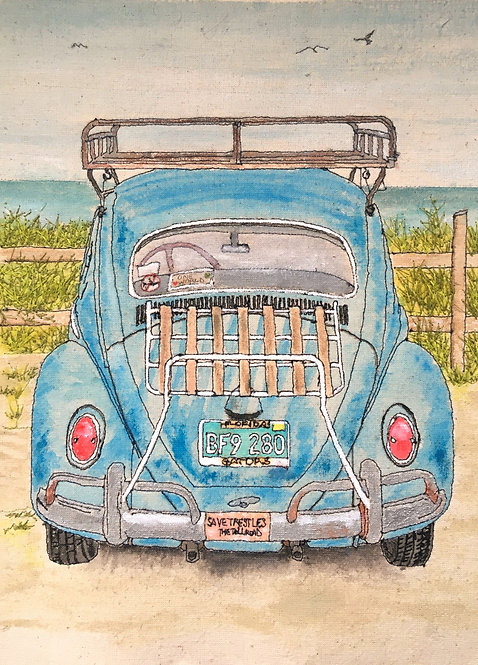 'Beetle At The Beach' - SOLD