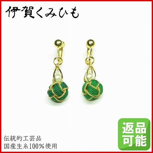 小田巻イヤリング(緑色)