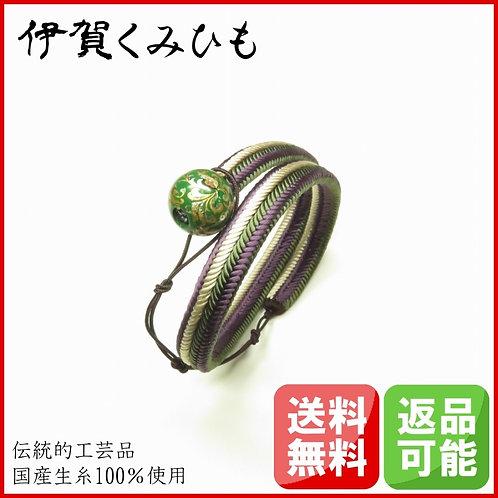 ブレスレット銀飾り緑 ロング(紫・緑・白)