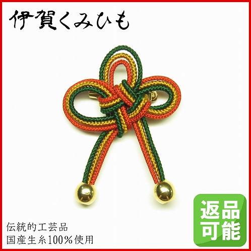 几帳結びブローチ(赤茶・緑)