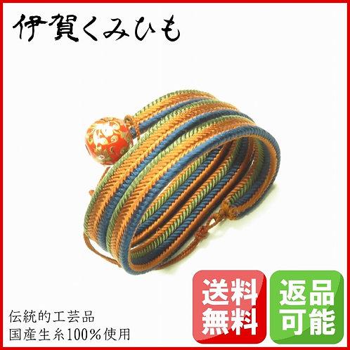 ブレスレット銀飾り赤 スーパーロング(茶・青・緑)