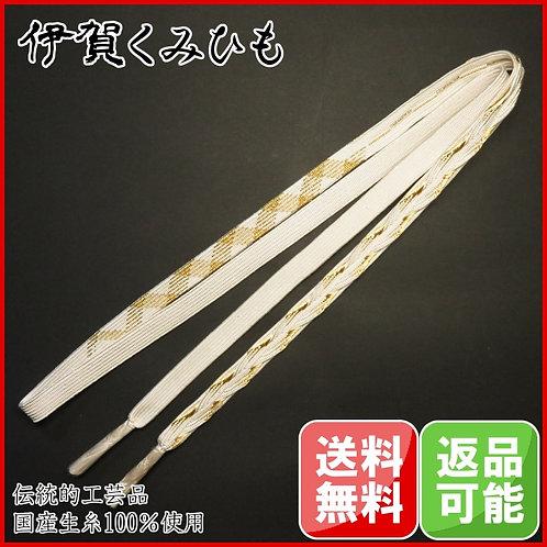 最高級 手編み帯締め(白・金)