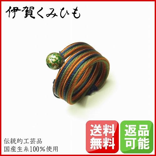 ブレスレット銀飾り緑 スーパーロング(茶・青・緑)