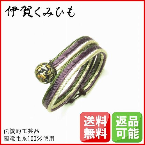 ブレスレット銀飾り黒 ロング(紫・緑・白)