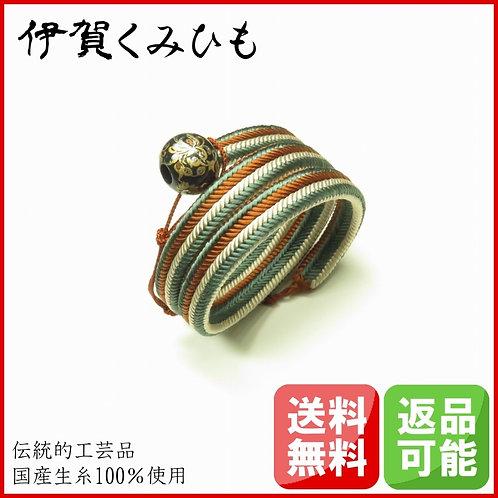 ブレスレット銀飾り黒 スーパーロング(緑・茶・白)
