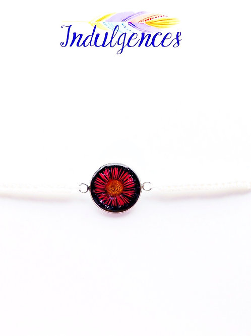 White Bracelet with Red Flower