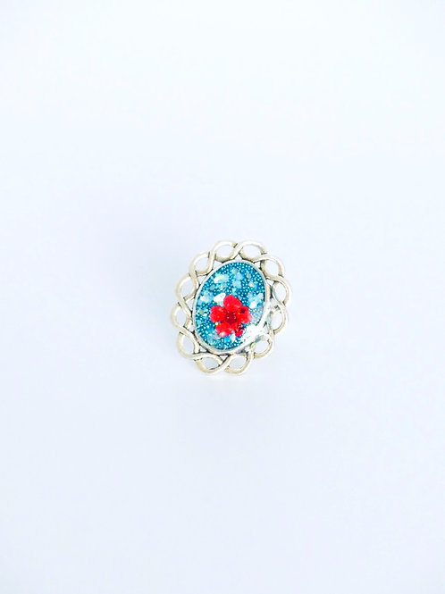 Red Flower Oval Turquoise Ring