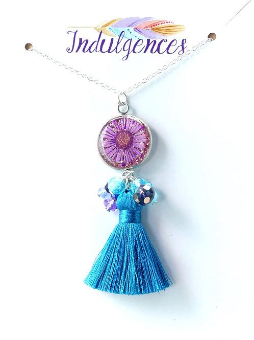 Pink Flower blue tassel NKBD
