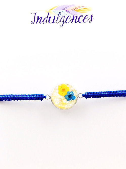 Blue Bracelet with Small Flowers