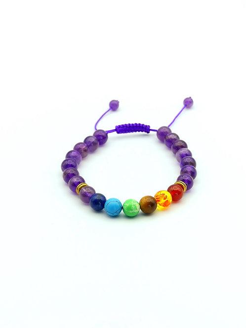 Adjustable 7 Chakras Purple Stones Bracelet