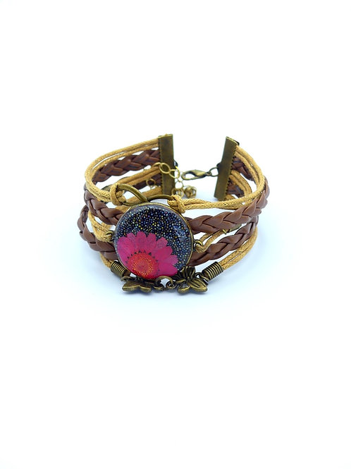 Adjustable Leather with Pink Flower