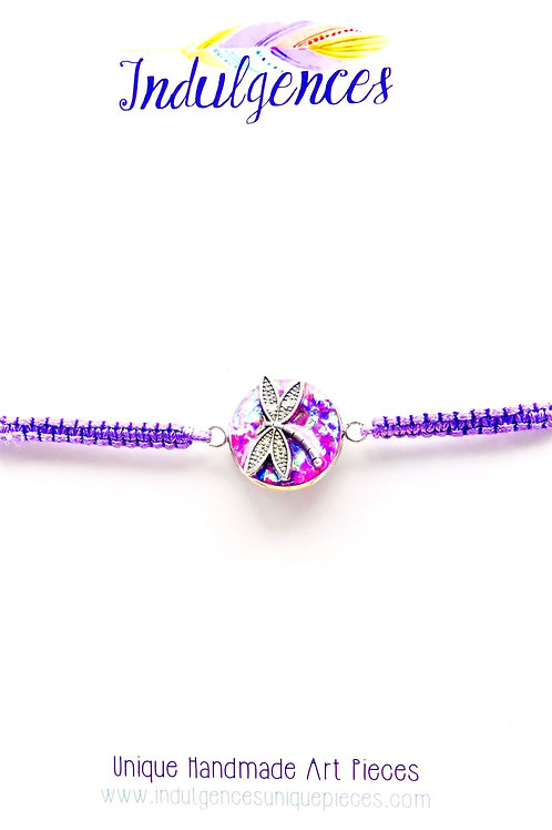 Purple Bracelet with Dragonfly