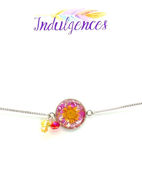Adjustable Silver Plated with Yellow Flower