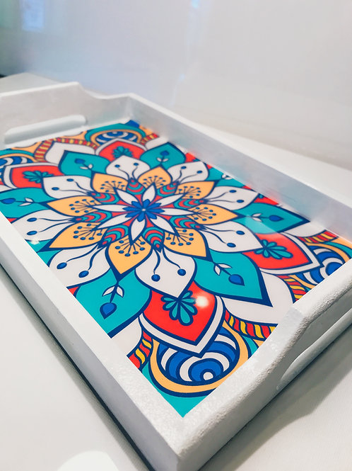 White with Colorful Design Hand-painted Wooden Tray