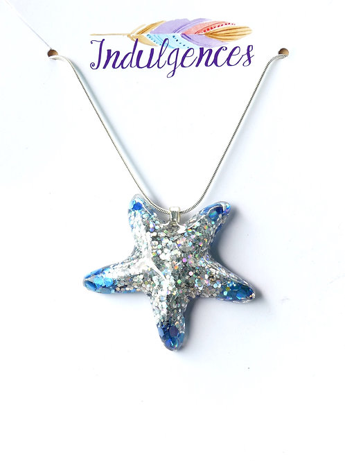 Silver and blue starfish NKCN