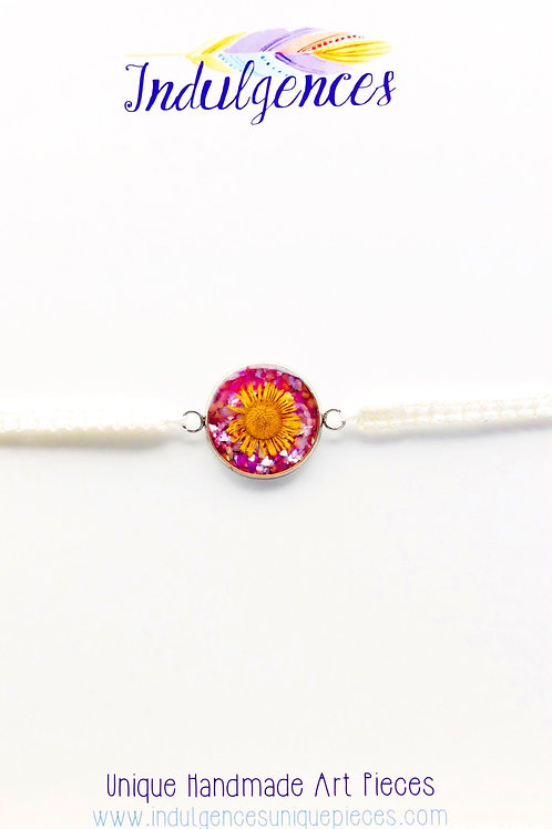 Adjustable White Bracelet with Yellow Flower