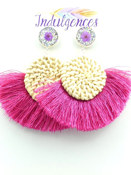 Real Flowers with Rattan Circle and Tassel