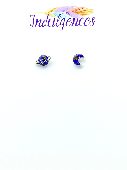 Saturn and Moon Earrings