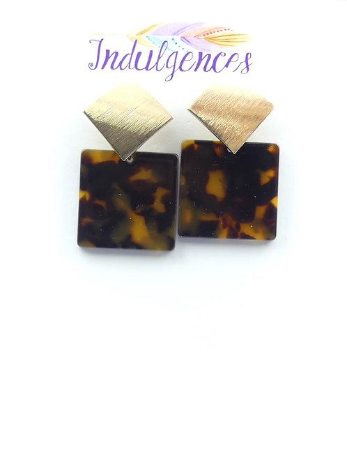 Tortoise Inspired Square Earrings
