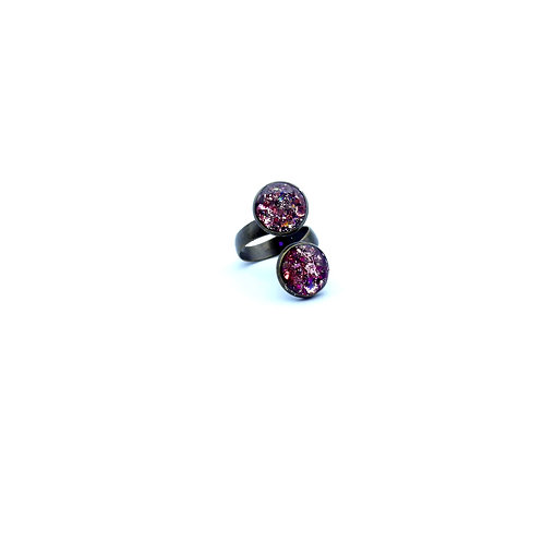 Double Pink Sparkly Vintage Ring RGAB