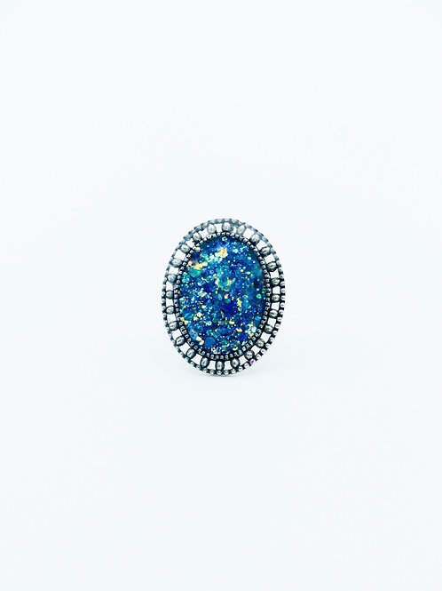 Shades of Blue Oval Ring