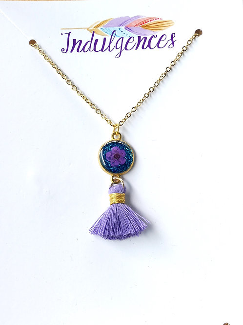Purple mini flower in blue w tassel NKCJ