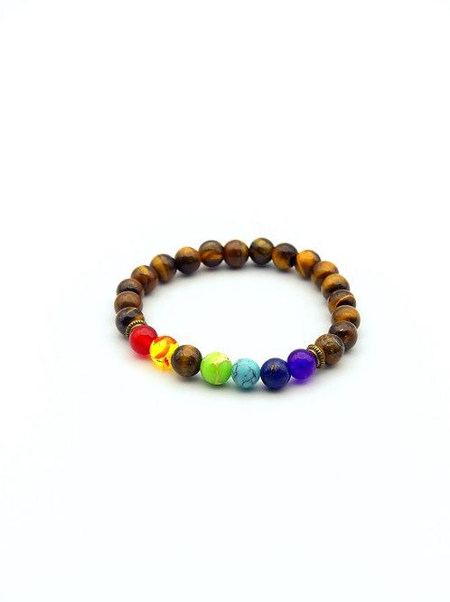Adjustable 7 Chakras Brown Stones Bracelet
