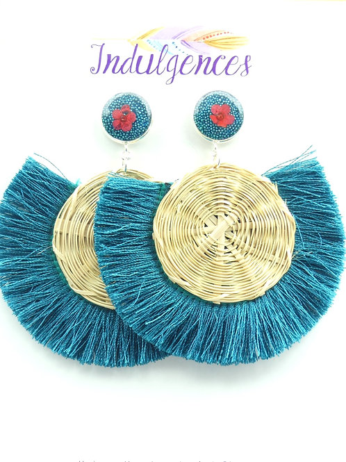 Turquoise Tassel Rattan with flower