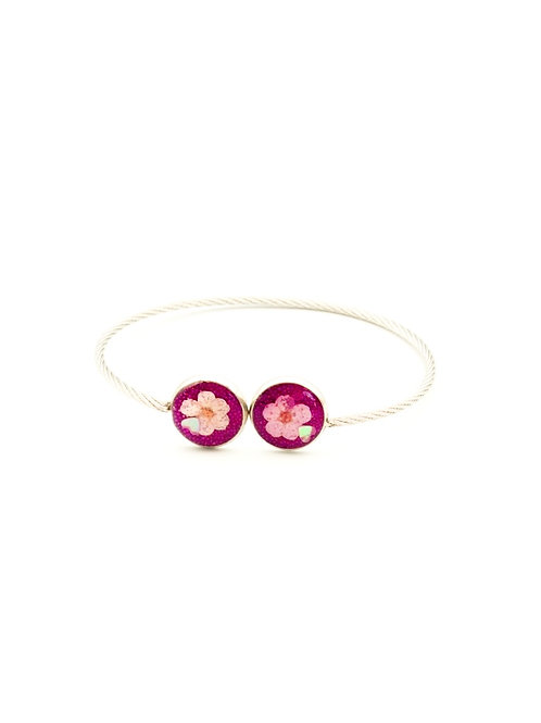Adjustable Silver Plated with Small Flowers