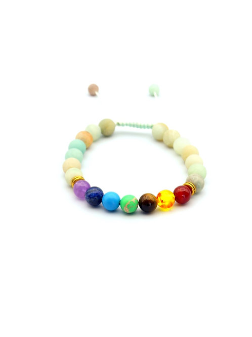 Adjustable 7 Chakras White Stones Bracelet