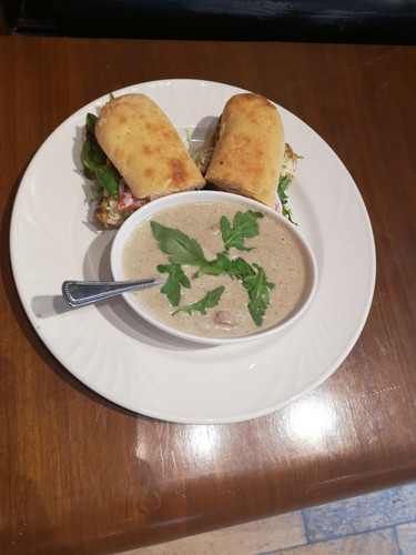 Cream of Mushroom soup & sandwich