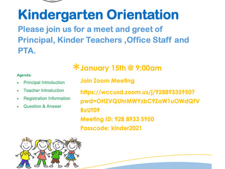 Save the Date: Kindergarten 2021-22 Orientation