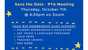 PTA Meeting: Thursday, October 7