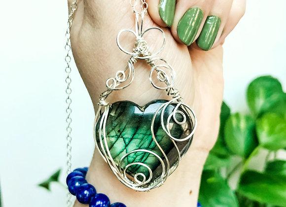 Green Labradorite Heart in Sterling Silver