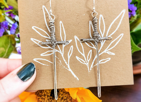 Sterling Silver Sword Earrings (made to order)