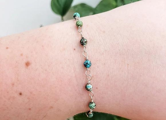 Turquoise Bead Chain Bracelet