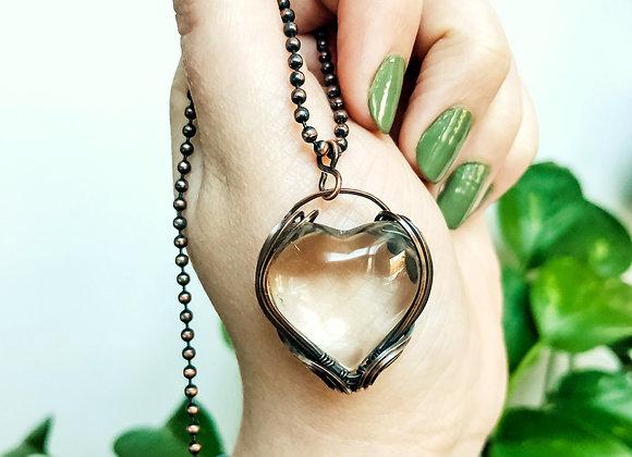Clear Quartz Heart in Copper