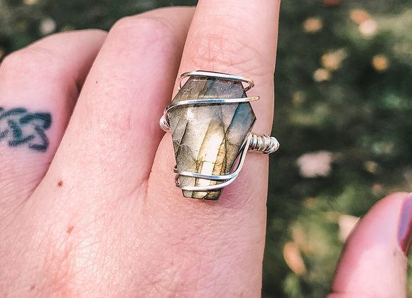 Labradorite Coffin Ring in Silver (made to order)