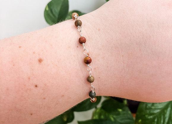 Red Creek Jasper Bead Chain Bracelet