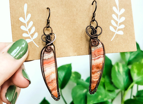 Crazy Lace Agate Oxidized Copper Earrings