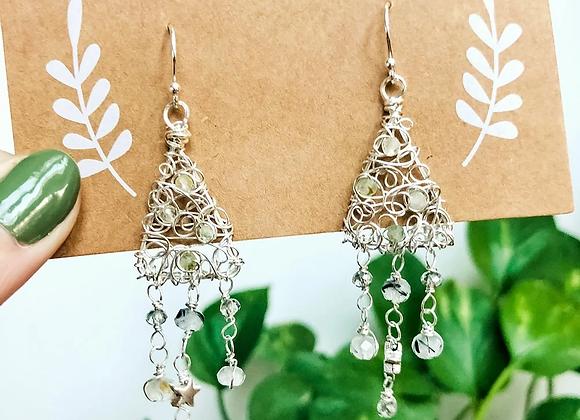 Prehnite Christmas Tree Earrings